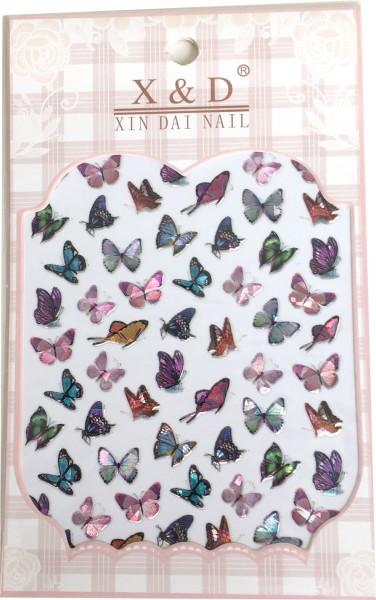Nailart Sticker-Schmetterlinge bunt - irisierend