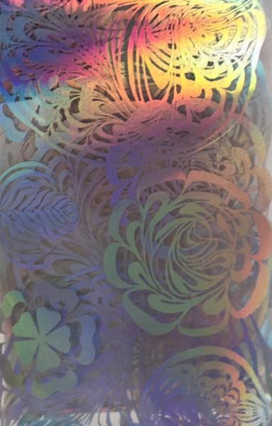 Transferfolie- Blumen silber irisierend